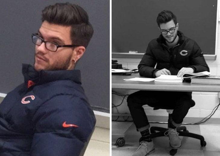 Profesor atractivo leyendo en clases