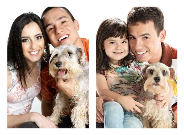 Foto con el perro recreada por padre e hija