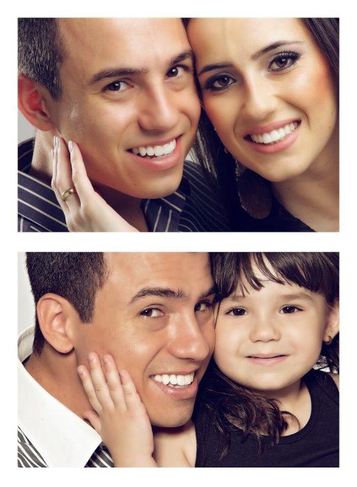 Fotografía de esposos recreada por padre e hija