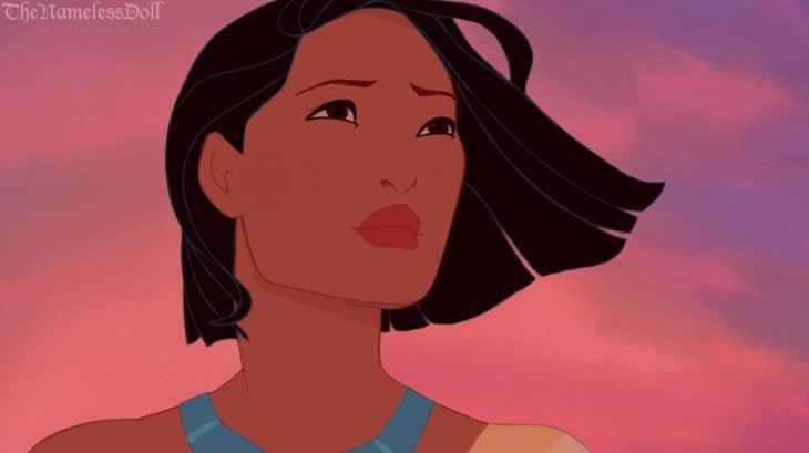 Princesa pocahontas con el cabello corto