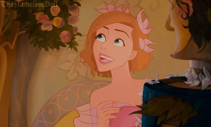 Personaje de la película encantada con el cabello corto