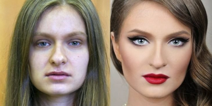 Chica rubia antes y después de aplicarse maquillaje en el rostro