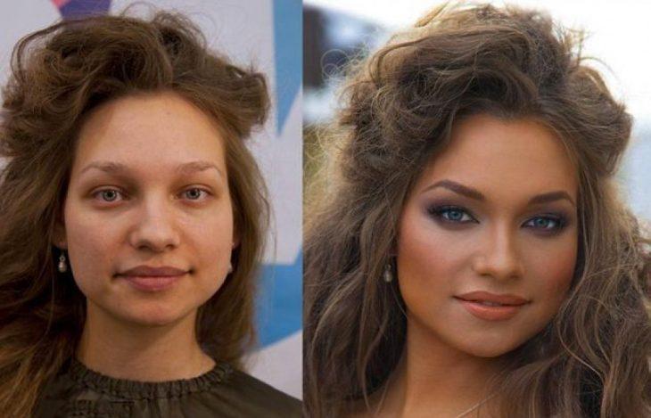 Chica mostrando el antes y después del poder del maquillaje en su rostro
