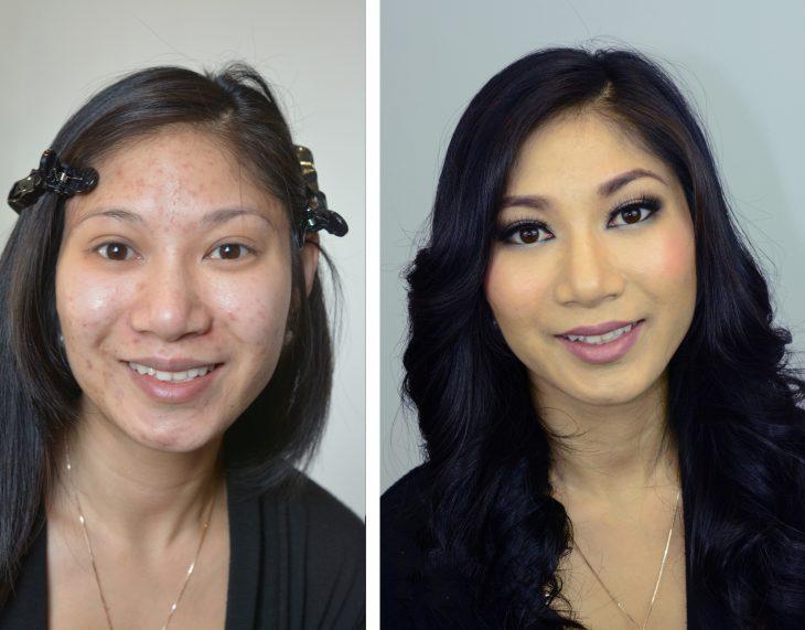 Chica de cabello negro mostrando el antes y después del poder del maquillaje