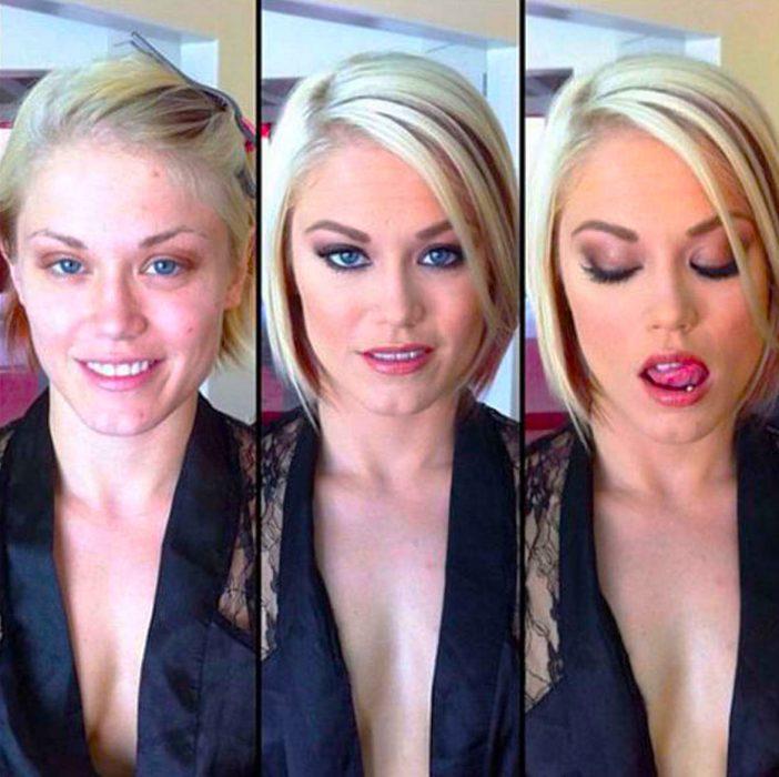 Chica de cabello corto mostrando el proceso de cuando maquillan su rostro