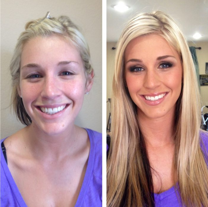 Chica mostrando el antes y después de su rostro maquillado