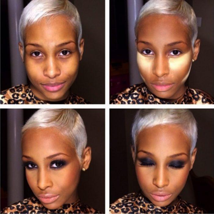 Chica de piel morena mostrando el antes y después del maquillaje