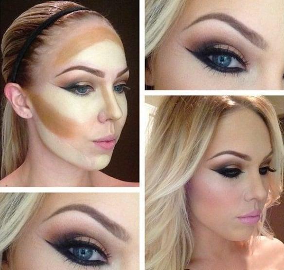 Chica rubia mostrando el proceso de maquillaje antes y después de aplicarlo