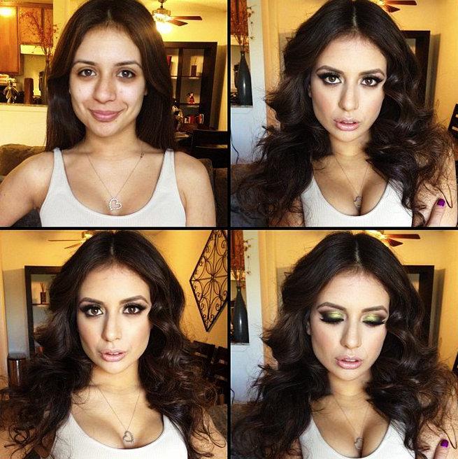 Chica de piel morena mostrando el antes y después del uso del maquillaje