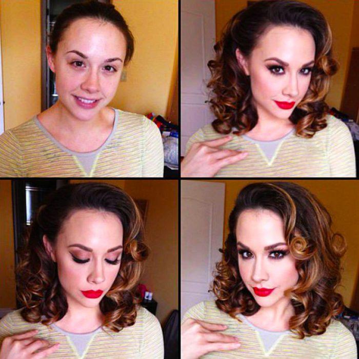 Chica de cabello chino mostrando el antes y después del uso del maquillaje