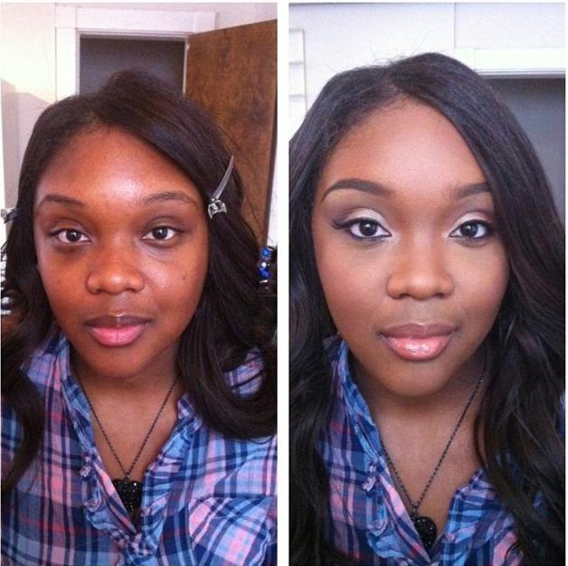 Chica morena mostrando el antes y después de usar maquillaje