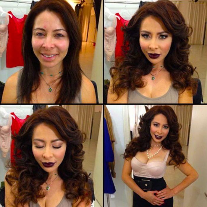 Chica de cabello rojo mostrando el antes y después del maquillaje