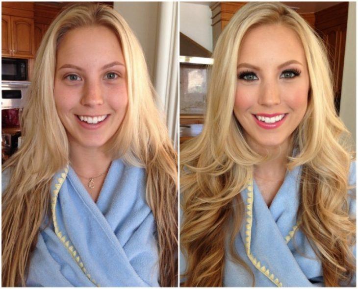 Chica rubia usando una bata mientras muestra el antes y después de su maquillaje