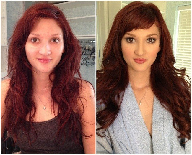 Chica mostrando el antes y después del maquillaje