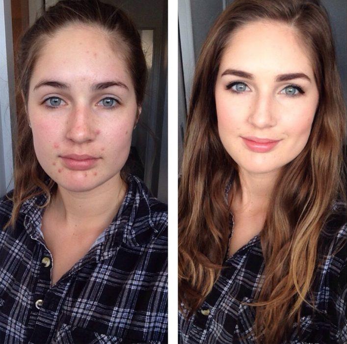Chica usando una camisa a cuadros y mostrando el antes y después del maquillaje