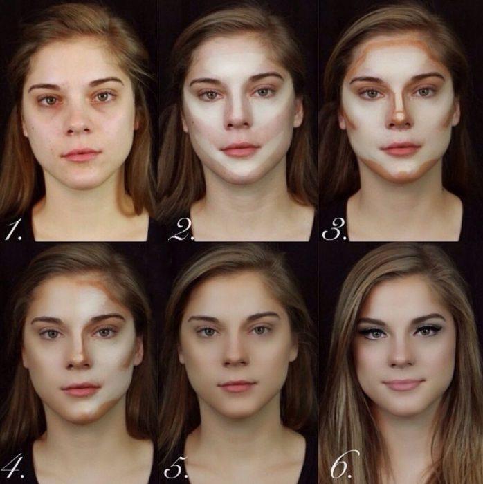 Chica cnates y después del maquillaje