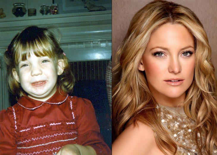Kate Hudson antes cuando era niña y después como adulta