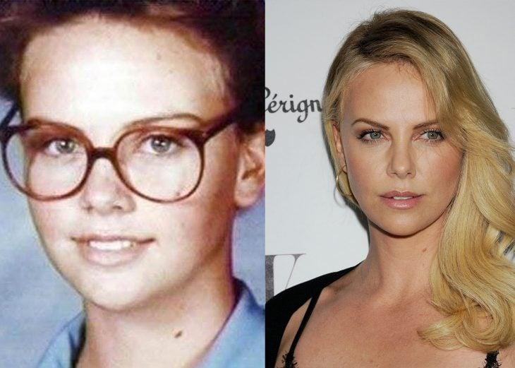 charlize theron antes de niña cuando usaba lentes y después cuando es una adulta