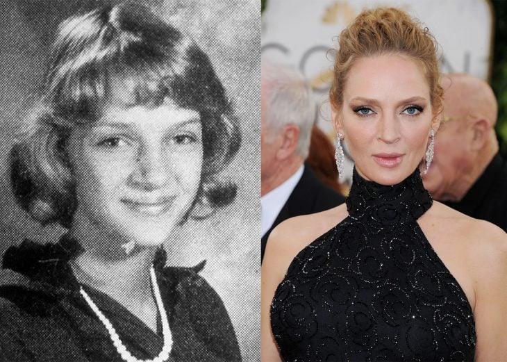 uma thurman de niña y después de adulto