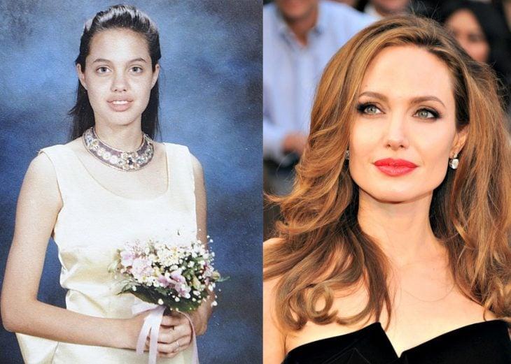 Angelina jolie en el baile de graduación de su escuela y después en la alfombra roja
