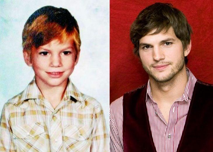 Ashton kutcher cuando era niño y después de adulto