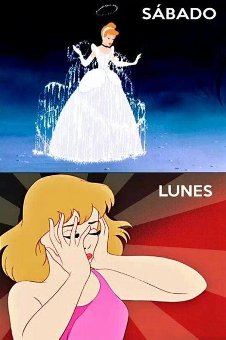 Princesa cenicienta cambiando de fea a bonita