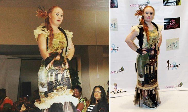 Modelo con sindrome do down desfilando por las pasarelas de la semana de la moda en nueva york