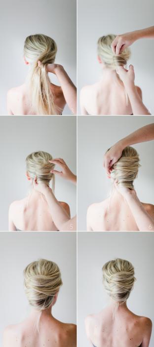 Chica haciéndose un peinado de chongo francés