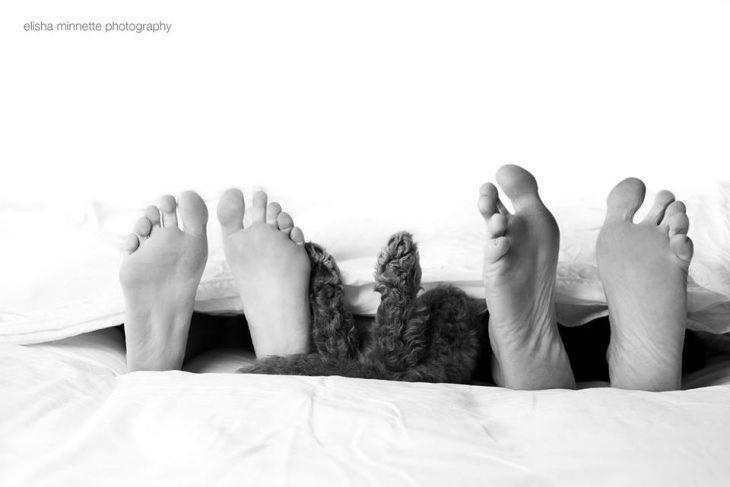 pareja recostada en la cama junto a su cachorro