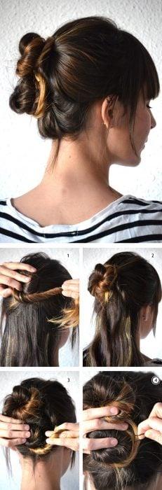 Chica haciéndose un peinado de chongo doble en su cabello