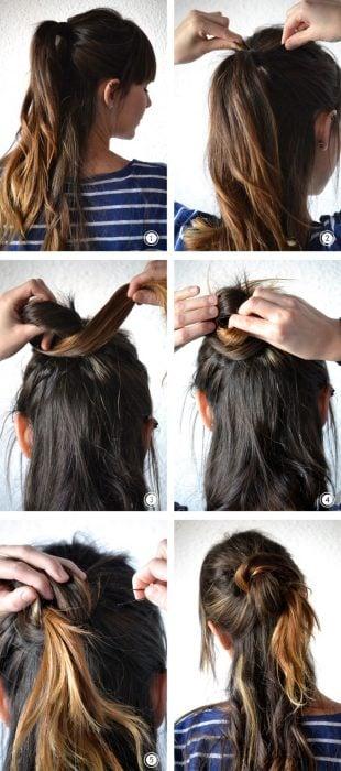 Chica haciendose un peinado de medio chongo en la cabeza