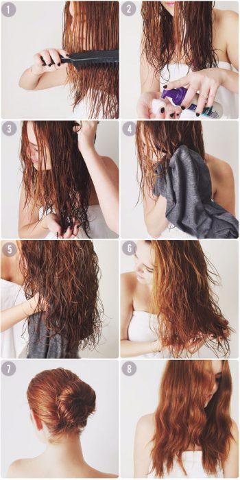 Chica con el cabello húmedo poniéndose muse y secándoselo