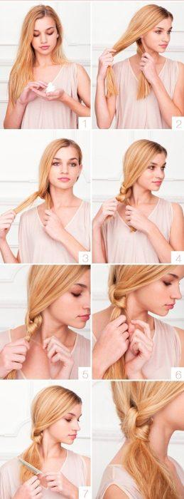 Chica haciendo un peinado de nudo doble con la coleta de su cabello
