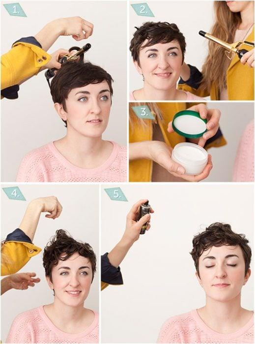 Mujer de cabello corto con un peinado de ondas hechas con una pinza