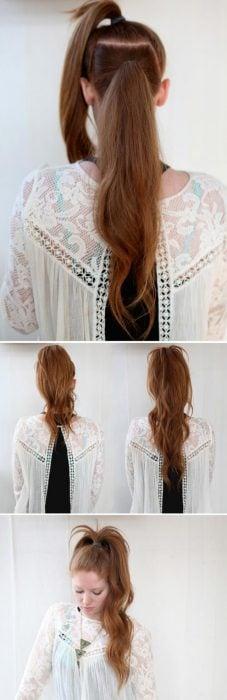 Chica con un peinado de cola de caballo doble
