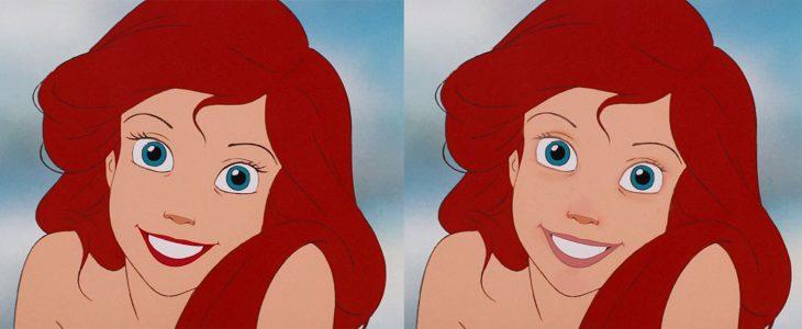 Comparación de ariel con y sin maquillaje