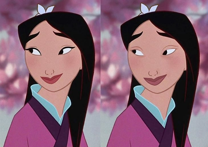 Comparación de mulan con y sin maquillaje