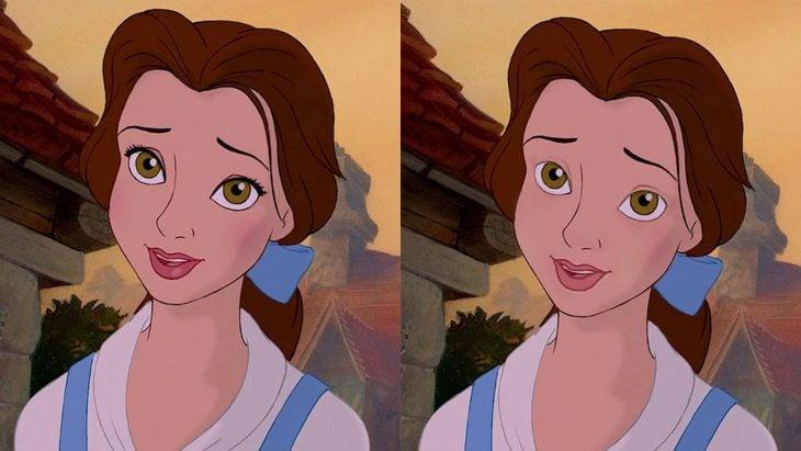 Comparacion de bella con y sin maquillaje