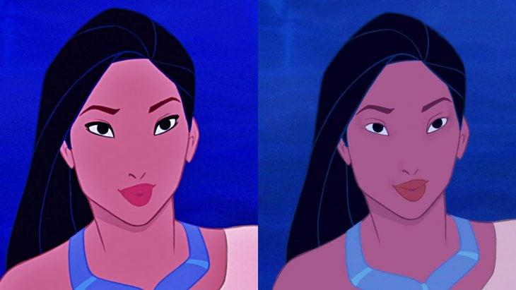 Comparación de pocahontas con y sin maquillaje