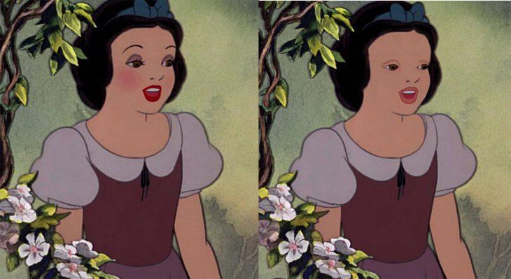 comparación de la cara de blanca nieves con y sin maquillaje