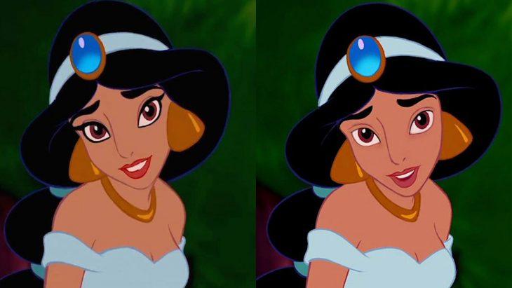 Comparación de la cara de jazmin con y sin maquillaje