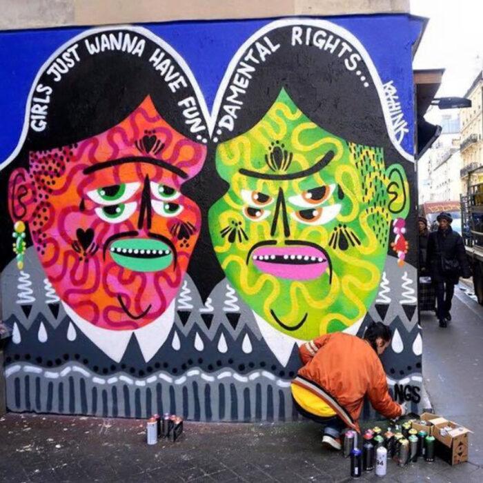 Murales de mujeres artistas callejeras; Kashink