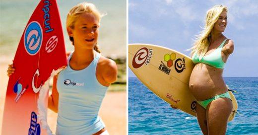 Esta surfista sin brazo sigue desafiando las probabilidades de alcanzar la grandeza