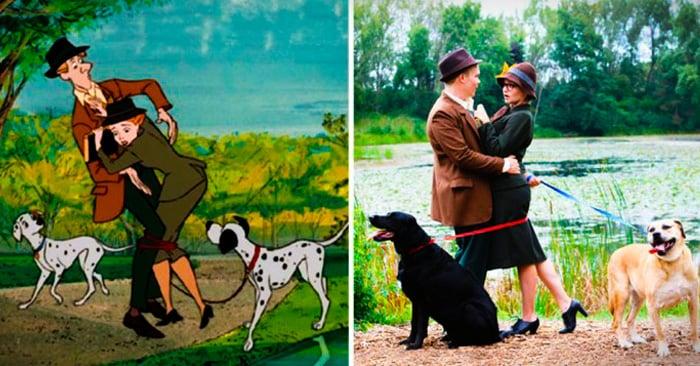 """Esta pareja recreó algunas escenas clásicas de """"101 Dálmatas"""" para su sesión de fotos de compromiso"""