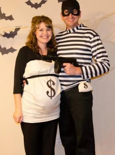 Disfraz de bolsa de dinero y ladrón