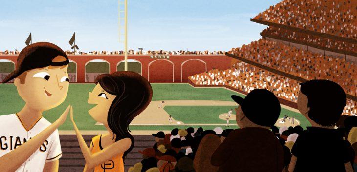 Ilustración de Nidhi Chanani pareja en un estadio de beisbol