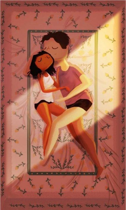 Ilustración de Nidhi Chanani pareja durmiendo abrazada