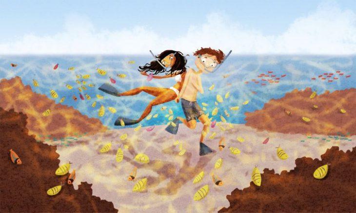 Ilustración de Nidhi Chanani pareja practicando Snorkel