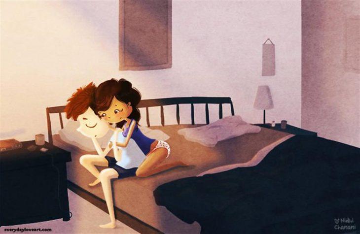 Ilustración de Nidhi Chanani pareja apoyándose en los malos momentos