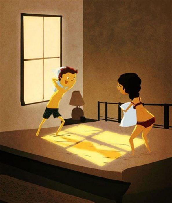 Ilustración de Nidhi Chanani pareja teniendo guerra de almohadas
